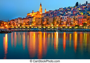 Provence village Menton after sunset, Menton, France