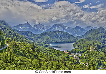 Castle Hohenschwangau alps and Alpsee