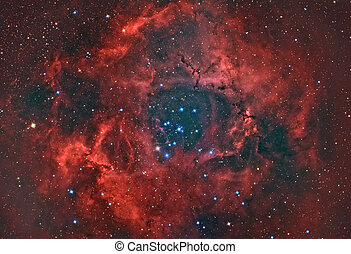 Rosette Nebula - open star cluster an H II region in the...