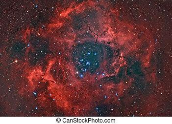 Rosette Nebula - open star cluster an H II region in the...