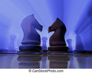 Chess knights - In fight face to face knights - rendered in...