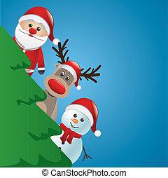 santa reindeer and snowman behind c