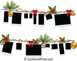 photo frame set with christmas icon - vector illustration of...