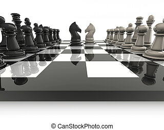 Chess 2 - Chessboard with knights face to face - rendered in...