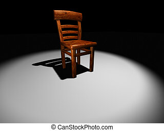 Chair on stage 2 - Conceptual wooden chair on a spot light -...