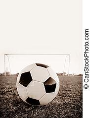 Football soccer ball on penalty spot