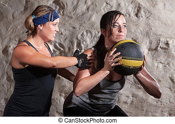 Boot Camp Workout Training with Medicine Ball - Serious boot...