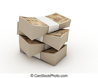 Stack of 10000 yen bills isolated on white background. High...