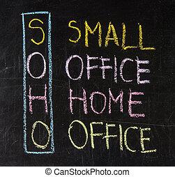 Soho, siglas, -, pequeño, oficina, hogar, oficina
