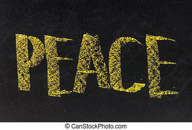 Peace - word written on a blackboard