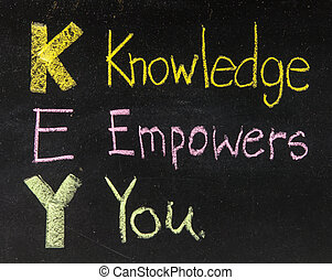 KEY acronym - Knowledge empowers you on a blackboard with...
