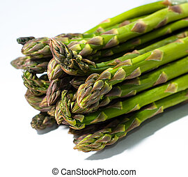 asparagus bunch - isolated bunch of asparagus on white