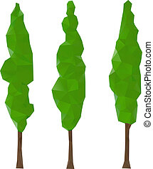 Cypress trees - Green cypress trees, vector illustration