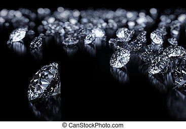 Luxury 3D diamonds render on black backgorund with DOF