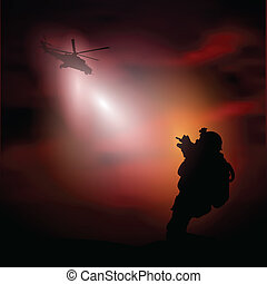 Soldier2 - Vector illustration with silhouette of a soldier...