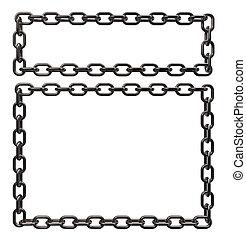 metal chains frame border on white background - 3d...