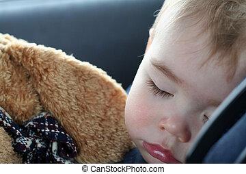 Toddler Sleeping - A toddler sleeping in his car seat