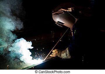 Electric welder welding metal