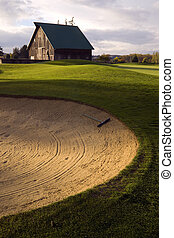 Sand Trap - A raked sandtrap on a rural golf course