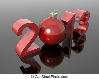 New year 2013 in numbers with a christmas ball on a...