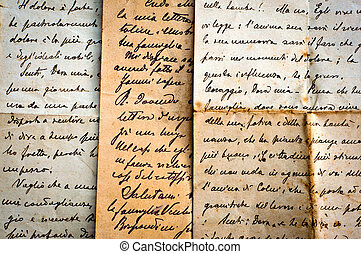 old handwritten letters on old paper - old letters...