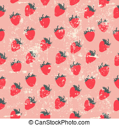 Strawberry pattern - Seamless strawberry pattern in retro...