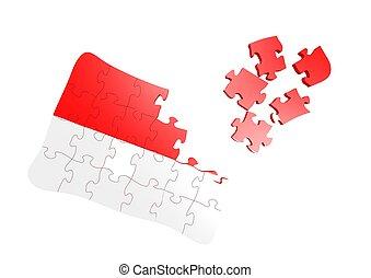 Indonesia flag puzzle