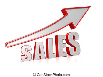 Sales Growth with arrow symbol - Rendered artwork with white...