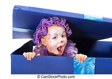 Clown surprise - Little four year old popping out of a...