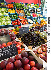 Colorful greengrocery - Colorful display of fruits and...