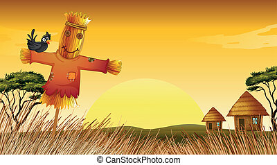 a man statue and farm - illustration of man statue in farm...