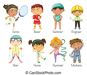 sports kids - illustration of various sports kids on a white...