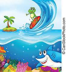 frog and shark fish in sea - illustration of a frog and a...
