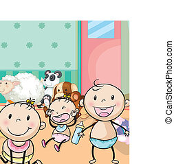 babies and animal toys - illustration of babies and animal...