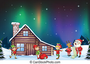santa clause, kids and reindeer - illustration of santa...
