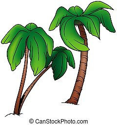 Palms 2 - two colored cartoon illustration