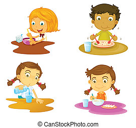 four kids having food - illustration of four kids having...