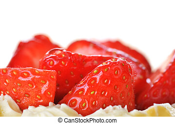 tasty cakes with nuts and strawberries closeup