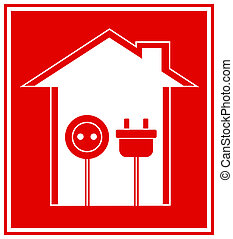technical symbol of electricity - simple technical red...