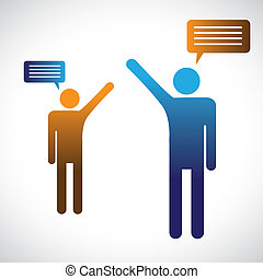Concept graphic of people talking, speaking or chatting. The illustration shows two people symbols with chat icons speaking with each other