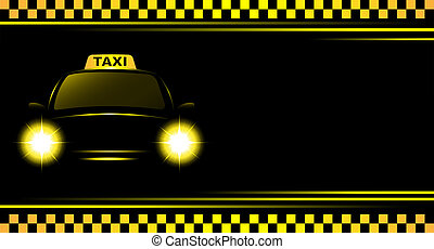 background with taxi sign and cab - business card and black...