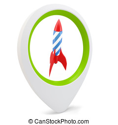 3d round pointer with rocket on white background