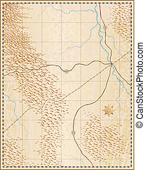 Old map - Illustration of an old generic map with no names