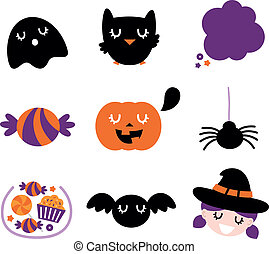 Halloween icon set isolated on white - Halloween seasonal...