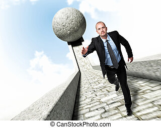 run to survive - running businessman and huge 3d ball