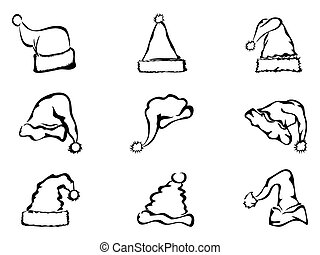 simple outline of christmas hat - simple black outline of...