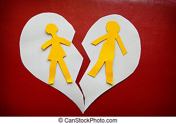 torn couple - paper cutout couple on a torn heart - divorce...