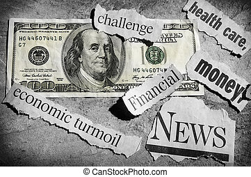 bad news - newspaper headlines showing bad news, and money