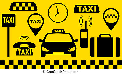 transport set of taxi objects silhouette on yellow...