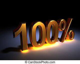 "100 % - Light golden \""100%\\\"" text on dark area - 3d..."